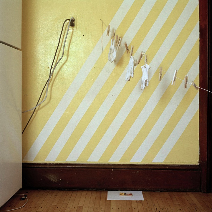 white and yellow striped wall