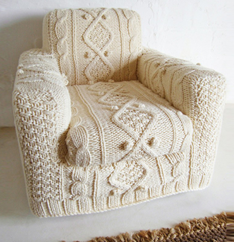 hand knitted armchair slip cover by biscuitscout