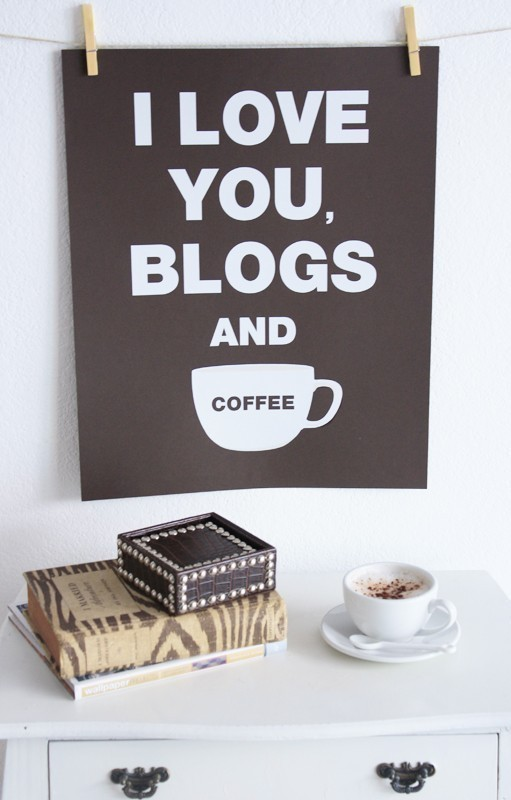i love you blogs and coffee print by jenniferramos